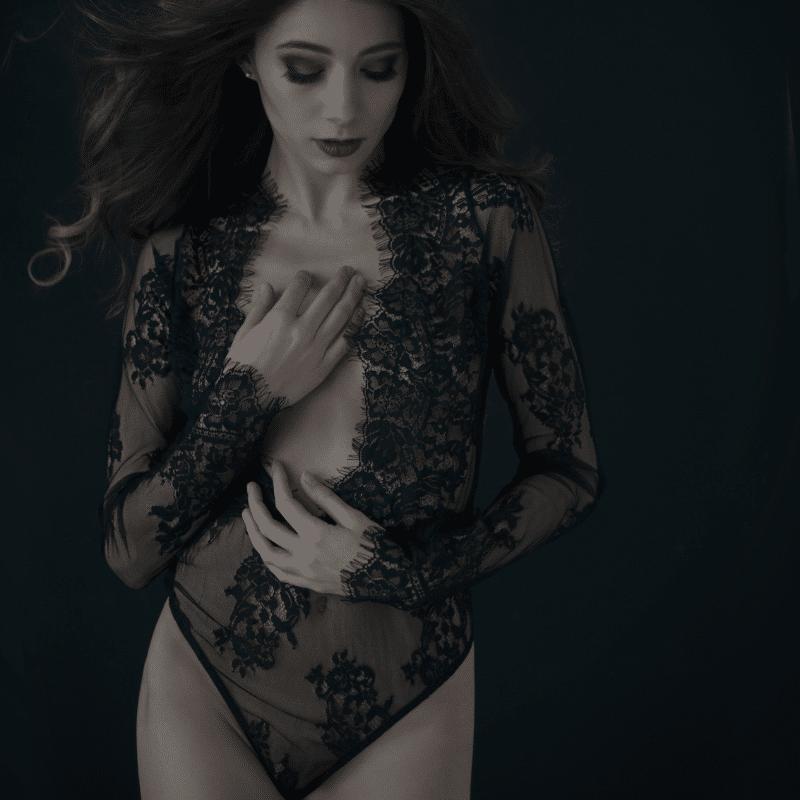 Long Sleeve Lace Bodysuit Boudoir Outfit Ideas