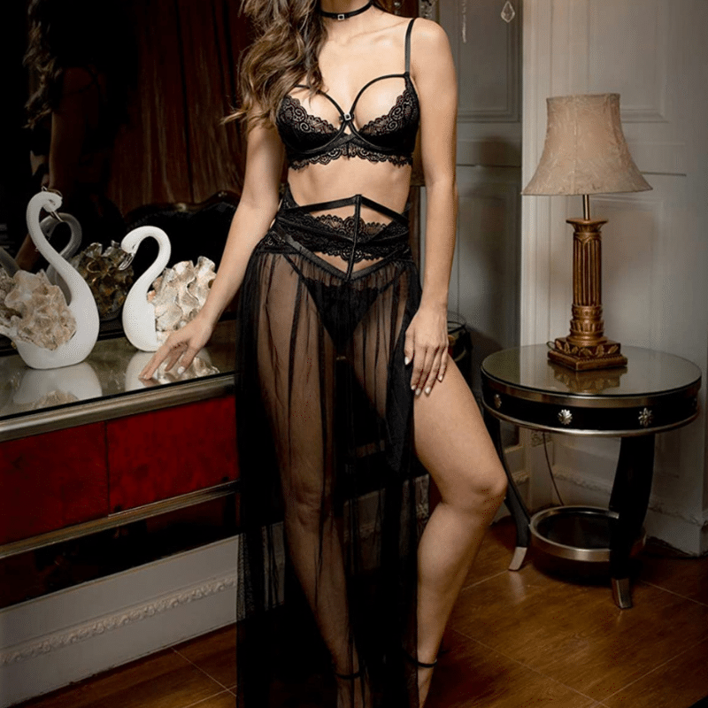 Lingerie 2 Piece Set with Skirt For Boudoir Photoshoot